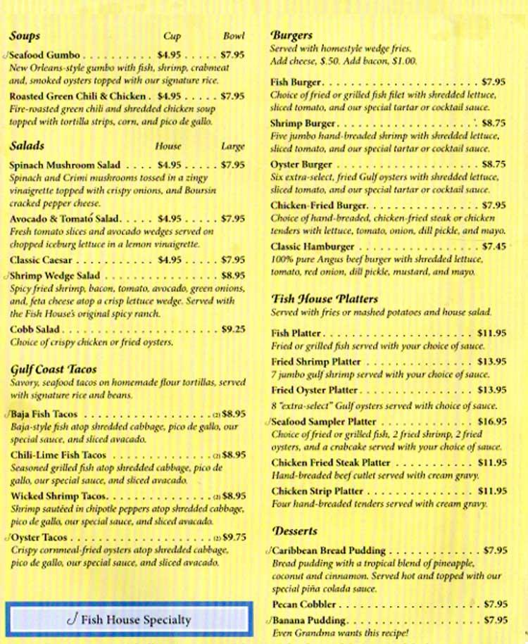 Fish house restaurant upper deck lounge in port aransas for Fish house menu